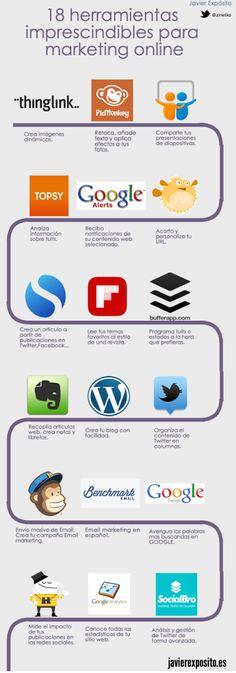 Hola: Una infografía con 18 herramientas imprescindibles para Marketing Online. Vía Un saludo