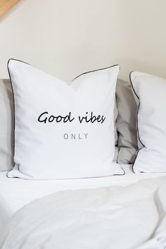 Typography cushion cover,typography pillow,word cushion cover,word pillow,monochrome cushion,embroidered cushion,pillowcase,scandi pillow Typography Cushions, Embroidered Cushions, Good Vibes Only, Monochrome, Bed Pillows, Pillow Cases, Trending Outfits, Words, Handmade Gifts