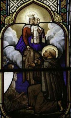 San Simon Stock che riceve lo scapolare dalla Madonna, vetrate della Catedrale Autun in Francia
