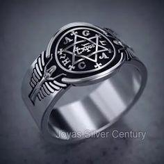 Anillo Plata Símbolo Mágico Tetragramatón Toque Místico