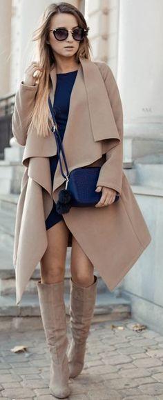 Styloly Tan Oversize Waterfall Coat Little Navy Dress Tan Suede Boots Fall Inspo
