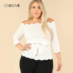 Off The Shoulder Plus Size Beige Workwear Top Stretchy Petal Sleeve Belted Women Autumn Blouse Beige XXXL Cute Blouses, Plus Size Blouses, Shirt Blouses, Petal Sleeve, Harajuku Fashion, Sleeve Styles, Trendy Outfits, Plus Size Fashion, Work Wear