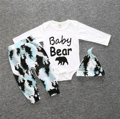 Baby Bear Boy's 3 pc Newborn Set Boy Infant Clothing NEW Shower Gifts Newborn Clothing Sets Clothes Gifts Ships from USA #boymom #babyboyclothes #babyshowergifts