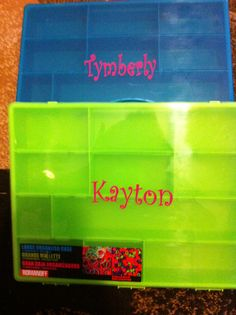 """Rainbow Loom storage boxes Did these for my girls using a bigger font size and a few designs...I haven't stopped getting requests from their school friends...""""Can you make my name too?"""" Of course, I am glad to make them:)"""