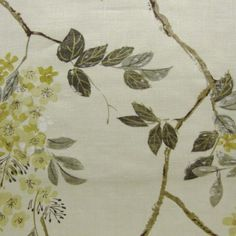 beautiful branchy yellow and gray fabric.featured in Sarah's House farm kitchen. Fabric Patterns, Color Patterns, Color Schemes, Gray Fabric, Yellow Fabric, Love Wallpaper, Fabric Wallpaper, Decorating Ideas, Decor Ideas