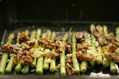 Roasted asparagus with walnuts and grated cheese.