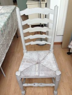 Autentico Chalk painted wicker chair £15  -Painted and waxed -Shabby look -Great for bedroom/kitchen
