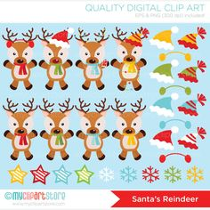 SANTAS REINDEER Vector Clip Art - variety of reindeers in festive winter scarves and hats --------------------------------------------------------------------------------------- ► Similar Items Available Here: http://etsy.me/1gvzQtR --------------------------------------------------------------------------------------- SPEND $25 - GET 15% OFF - COUPON: SAVE15 SPEND $50 - GET 20% OFF - COUPON: SAVE20 -------------------------------------------------------------------------------...
