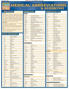 Medical Abbreviations & Acronyms (Quickstudy: Academic): Most commonly used medical abbreviations and acronyms. br / br / Anyone in the medical profession, from office workers to doctors themselves, will find this guide extremely useful. Medical Transcription, Medical Billing And Coding, Medical Terminology, Diagnostic Medical Sonography Schools, Text Abbreviations, Nursing Notes, Nursing Programs, Lpn Programs, Nursing Math