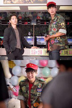 Lee Kwang Soo and Song Joong Ki on the set of Descendants of the Sun