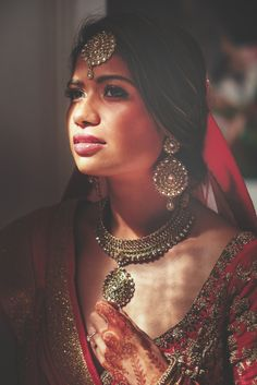 Moody Hindu bride. - Taken during a real wedding using window light only.