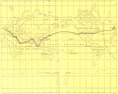 Jules Verne Map for Around the World in 80 Days