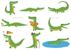 Stock illustration: Cartoon crocodiles characters different green zoo animals. Cute crocodile character doodle animal with bath toy and white teeth. Kid Character, Character Design, Crocodile Tattoo, Crocodile Illustration, Baby Alligator, Very Cute Baby, Color Vector, Comic, Zoo Animals