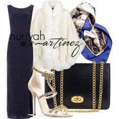 Hijab Outfit by Nuriyah O. Martinez      Blue sparkly dress €19-newlook.com    Harrods cashmere cape €1.860-harrods.com    Oscar de la Renta geometric shoes €1.290-oscardelarenta.com    Marlafiji chain handle handbag €115-theiconic.com.au    Hermès horse scarve €255-shop-hers.com