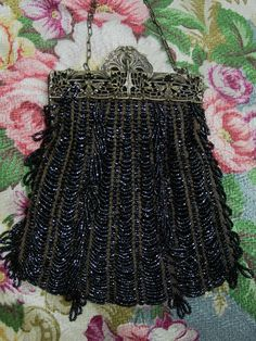 Antique Beaded Purse c.1900 Art Nouveau Fancy Frame, Black Glass Draped Beads.
