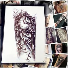 2d7e4ad392a59 US $2.32 10% OFF|Aliexpress.com : Buy 5 Sheets 1 Lot Makeup Old Clock Temporary  Tattoo Stickers Cross / Large Punk For Body Arm Sleeve Adhesive Fake Henna  ...