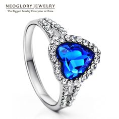 Heart Love Crystal Austrian Rhinestone Wedding Finger Ring for Women Fashion Jewelry  New He1 He-b
