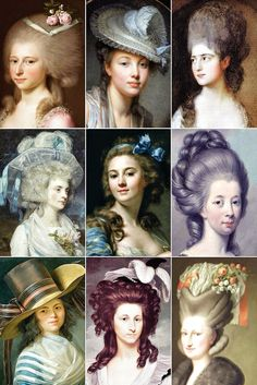 """18th Century Woman's Hairstyles A collection of 18th Century paintings from France & England, depicting some of the hairstyles of the time, among them the tête de mouton (or """"sheep's head""""), the pouf..."""