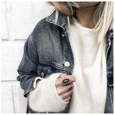 Le haut! • Denim Jacket #kuregirls (from @cyrielleforkure) • Knit #sezane (old) • Rings #pascalemonvoisin (from @pascalemonvoisin) ...