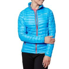 Helly Hansen Verglas Hybrid Insulated Jacket featuring polyvore, women's fashion, clothing, outerwear, jackets, silk blue, stand up collar jacket, puff jacket, helly hansen, stand collar jacket and long sleeve jacket