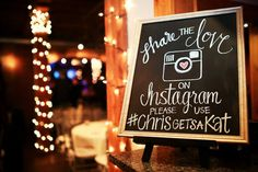 Instagram sign for wedding on chalkboard. Features your wedding hashtag!