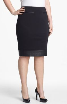 Sejour Faux Leather Trim Ponte Knit Skirt (Plus Size) available at #Nordstrom