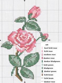 Geborduurde roos.