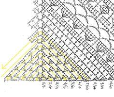 "One ""big cake"" triangle shawl scarf (free crochet pattern) Col Crochet, Crochet Shawl Diagram, Crochet Triangle, Crochet Poncho, Crochet Scarves, Crochet Stitches, Crochet Hats, Crochet Doilies, Enterlac Crochet"