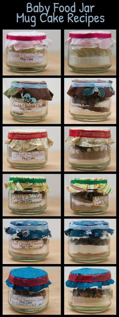Mug cake recipes: use baby food jars to package them in. Uses cake mix. Great gifts, fun party favor ideas