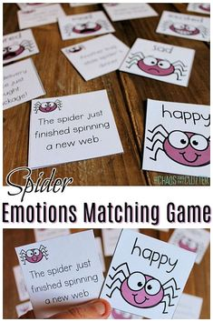 Help kids learn about emotions using this spider matching game free printable. Emotions Game, Feelings Games, Emotions Cards, Halloween Activities For Kids, Kids Learning Activities, Preschool Activities, Kindergarten Inquiry, Halloween Crafts, Halloween Ideas