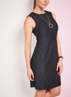 Sleeveless Faux Denim Sheath Dress