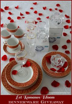 Let Romance Bloom Dinnerware Giveaway for Valentine\u0027s Day & Your Favorite Brands Holiday Dinnerware Sets 32 Piece Set \