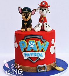 Paw Patrol cake with hand sculpted edible Chase and Marshall  Pink Icing LLC