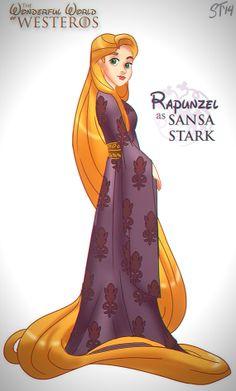 Vamers - Artistry - The Wonderful World of Westeros Imagines Disney Princesses as Game of Thrones Characters - Art by DjeDjehuti - Rapunzel ...