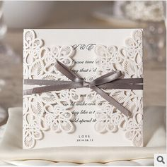 Wholesale - 2014 NEW Lace Hollow White Wedding Invitations Vertical Section Blank Inner Sheets Cards Wedding Supplies Invitation(China (Mainland))