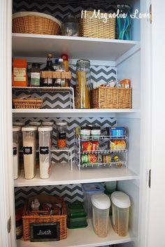 Organized Pantry with Chevron Shelf Paper Background   11 Magnolia Lane