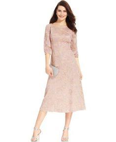 Alex Evenings Embroidered Lace Tea-Length Dress   macys.com