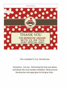 FREE sock monkey candy bar wrappers