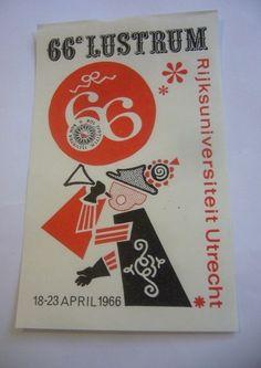 LJW-OLD POSTER STAMP-LUSTRUM RIJKSUNIVERSITEIT UTRECHT 1966