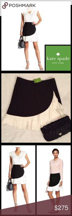"🆕🎁 KATE SPADE Black Crepe Ruffle Mini Skirt NWT ♠️ KATE SPADE Black Crepe Ruffle Mini Skirt Brand New With Tags  Retail Price: $298.00 Flirty Black Skirt With Cream Colored Ruffle Fully Lined, Hidden Back Zipper  Size: 10 Measurements Without Stretching: Waist: 15"" Across  Hips: 20""  Length: 19"" Shell: 82% Polyester, 12% Viscose, 6% Elastane  Lining: 100% Polyester  🎁 Great Gift Idea! 🎁 Smoke Free Home kate spade Skirts Mini"