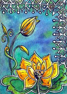 TRADED...BATIK #102 GOLDEN LOTUS  by Margaret Storer-Roche, via Flickr