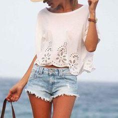 Hot Women Casual Chiffon Blouse Short Sleeve Shirt Summer Blouse Tops Shirts