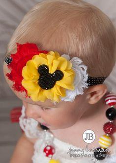 Mickey Mouse Inspired  Shabby Chic Headband #Accessories #All #Disney-Inspired-Headbands