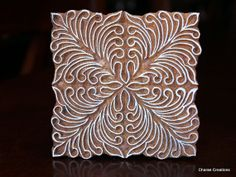 Hand Carved Indian Wood Textile Stamp Block- Square Floral Motif
