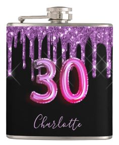 A gift from friends for a girly and glamorous 30th birthday girl. A classic black background with purple faux glitter drips, paint dripping look. Personalize and add a name.The text: The name is written in violet with a modern hand lettered style script. Age 30 is written with a trendy balloon style font. Back: add your text and names. 30th Birthday Party For Her, Fifty Birthday, Girl Birthday, Black Balloons, Purple Glitter, Flask, Hand Lettering, Script, Party Supplies
