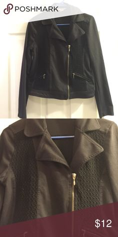 Black biker jacket Cotton. Lightly used. Bought while traveling in the Netherlands. Jackets & Coats