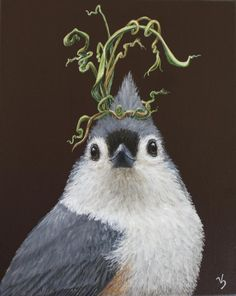 """Audrey II"" This smart and sassy titmouse is also part of my ""Larger than Life"" series."