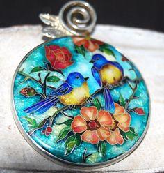 Sterling silver &Georgian Cloisonne enamel handmade pendan twith lovely birds #Handmade #Pendant