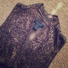 Super Cute ❤️ Karen Kane Sequin Tank, Large Super Cute Chocolate Brown Karen Kane Wrap Tank, size Large. Worn once to an event, fabulous condition. Darling on and comfortable too. Would fit a medium with a larger bust or an XL too. Karen Kane Tops Blouses
