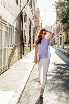 12 Brilliant Spring Outfit Ideas To Try Right Now #refinery29  http://www.refinery29.com/san-francisco-blogger-spring-street-style-pictures#slide-21  Nichole of Vanilla Extract keeps it light in Kingdom & State white pants and striped shirt.